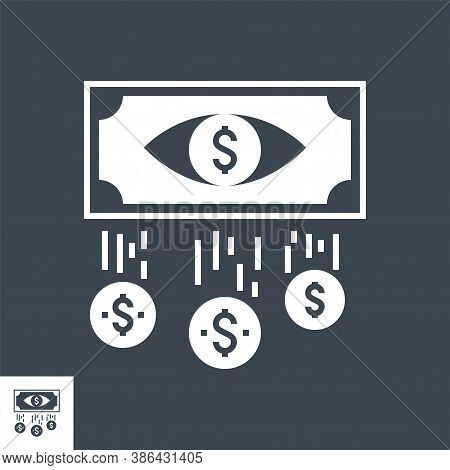 Cost Per Impression Related Vector Glyph Icon. Isolated On Black Background. Vector Illustration.