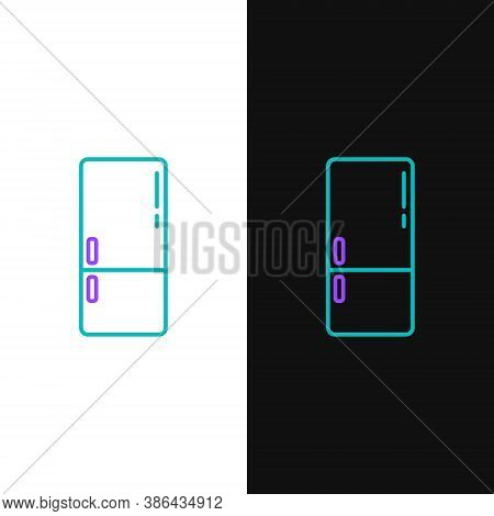 Line Refrigerator Icon Isolated On White And Black Background. Fridge Freezer Refrigerator. Househol