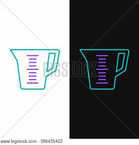 Line Measuring Cup To Measure Dry And Liquid Food Icon Isolated On White And Black Background. Plast