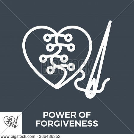 Power Of Forgiveness Thin Line Vector Icon Isolated On The Black Background.