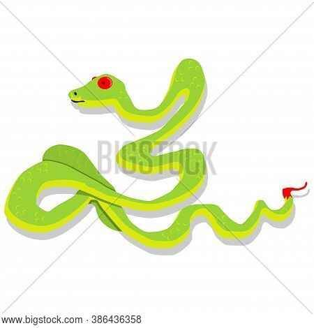 Green Snake Cartoon Character. Vector Illustration Isolated On White Background. Dangerous And Toxic