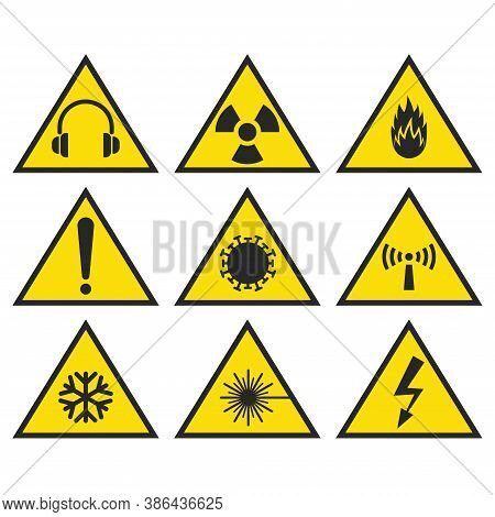 Safety Signs Set Yellow Triangle Shape, Communicate Hazards, Precautions Information Symbols