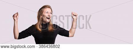 Esthetic Female Portrait. Happy Woman Smile. Grey Isolated Background. Adult Positive Emotion. Open