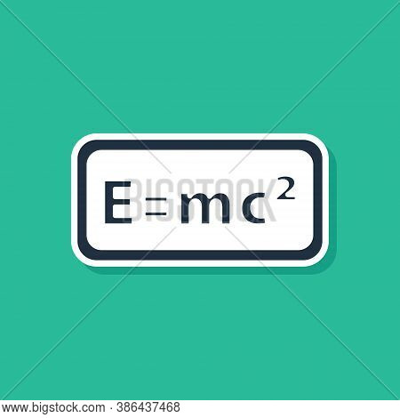 Blue Math System Of Equation Solution Icon Isolated On Green Background. E Equals Mc Squared Equatio