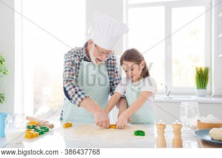 Photo Of Little Pretty Girl Granddaughter Help Grandpa Chef Cap Forming Dough Funny Colorful Forms B