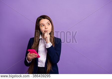 Portrait Of Her She Nice Brainy Small Little Minded Long-haired Doubtful Girl Using Gadget Thinking