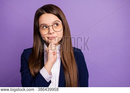 Close-up Portrait Of Her She Pensive Genius Brainy Long-haired Girl Overthinking Calculating Solving