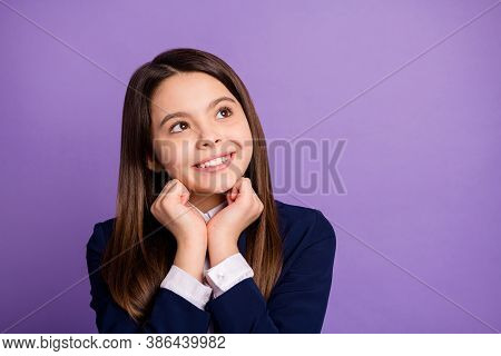 Close-up Portrait Of Her She Nice Lovely Cheerful Brainy Long-haired Girl Thinking Creating Clue Str