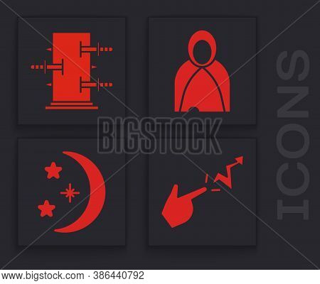 Set Spell, Trunk For Magic Tricks, Mantle, Cloak, Cape And Moon And Stars Icon. Vector