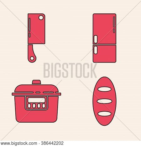 Set Bread Loaf, Meat Chopper, Refrigerator And Slow Cooker Icon. Vector