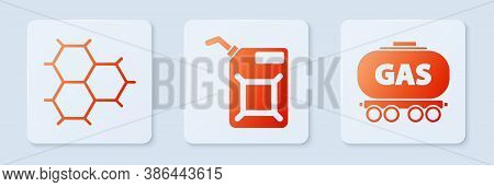 Set Canister For Gasoline, Chemical Formula Consisting Of Benzene Rings And Gas Railway Cistern. Whi