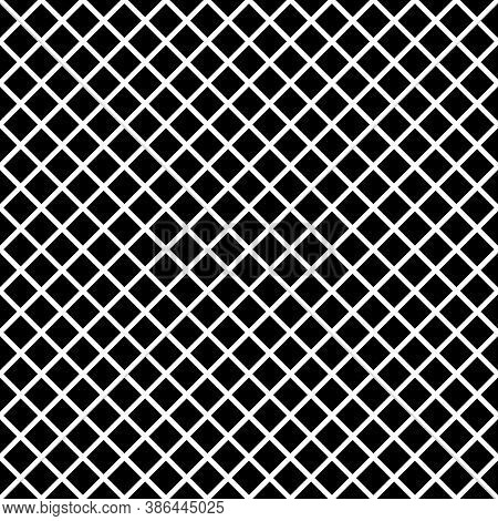 Black Rhombuses Tessellation On White Background. Seamless Surface Pattern Design With Diamonds Orna