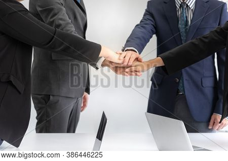 Business People Meeting Teamwork Join Hands Together, Up To Create Power Synergy Success At Workplac