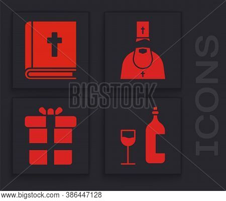 Set Wine Bottle With Glass, Holy Bible Book, Priest And Gift Box Icon. Vector
