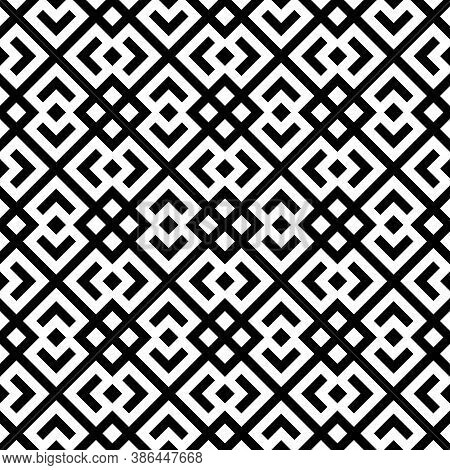Seamless Chinese Window Tracery Pattern. Repeated Stylized Black Rhombuses On White Background. Symm