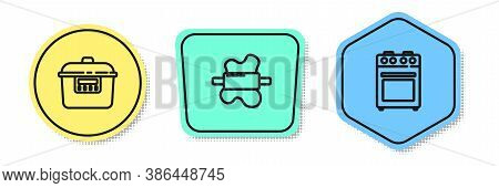 Set Line Slow Cooker, Rolling Pin On Dough And Oven. Colored Shapes. Vector