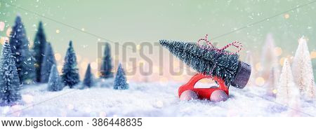 Car Carrying A Christmas Tree In The Snowy Forest At Night	(unrecognizable Car Model)