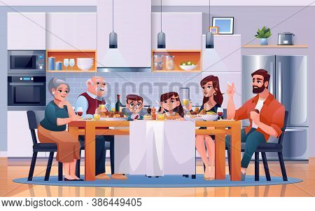 Family Dinner At Kitchen Table, Eating Food, Vector Cartoon Flat Illustration. Happy Family Together