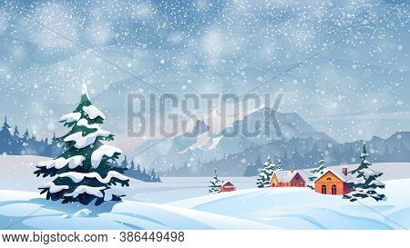 Winter Snow Landscape And Houses On Vector Background With Snowflakes Falling From Sky. Christmas Wi