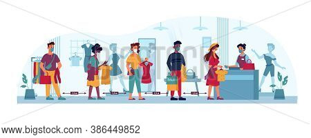 Clothing Store Queue, Social Distance, People Line In Masks To Shop Cashier, Vector Flat Cartoon. Co
