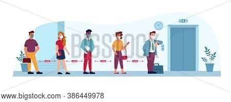 Elevator Social Distance, People In Masks In Queue To Office, Vector Flat. Public Places And Work So