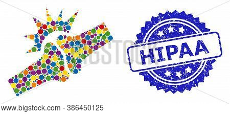 Colored Mosaic Bone Joint Fracture, And Hipaa Grunge Rosette Seal Print. Blue Seal Contains Hipaa Te