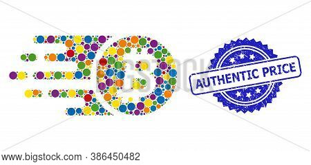 Bright Colored Collage Bitcoin Coin, And Authentic Price Grunge Rosette Stamp Seal. Blue Stamp Has A