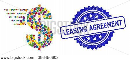 Multicolored Mosaic American Dollar, And Leasing Agreement Dirty Rosette Seal Imitation. Blue Stamp