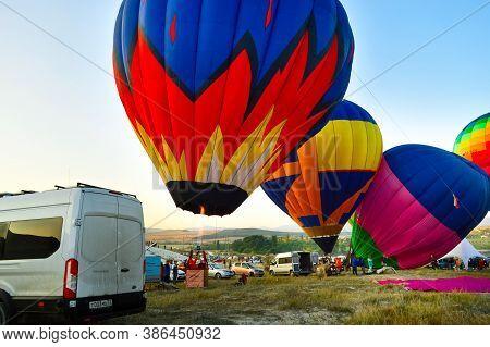 September 19, 2020: Aeronautics Festival In Crimea Near Belogorsk On White Rock. The Flight Of The B