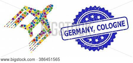 Colorful Mosaic Aviation, And Germany, Cologne Rubber Rosette Seal Print. Blue Seal Has Germany, Col