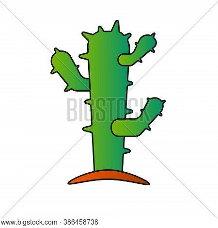 Green Prickly Cactus On A White Background. Isolated. Logo