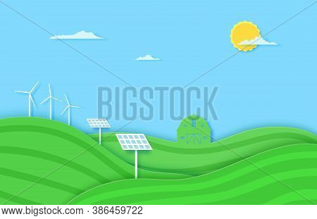 Agriculture Field With Solar Battery And Windmill Eco Energy In Paper Cut Style. 3d Landscape With G