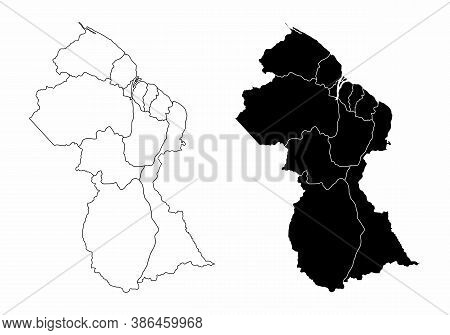 The Guyana Black And White Maps Divided In Regions