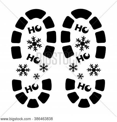 Santa Footprint. Santa Claus Footprint Stencil Designs. Trendy Design Template. Isolated Abstract Gr