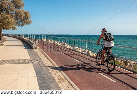 Palma De Mallorca, Balearic Islands/spain; September 2020: One Cyclist On The Promenade Of Palma De