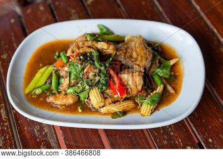 Spicy Stir-fried Fish With Pepper, Chili . Stir Fried Fish With Thai Herbs, Spicy Local Food, The Un