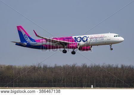 Budapest / Hungary - April 8, 2019: Wizz Air Special Sticker Airbus A321 Ha-ltd Passenger Plane Arri