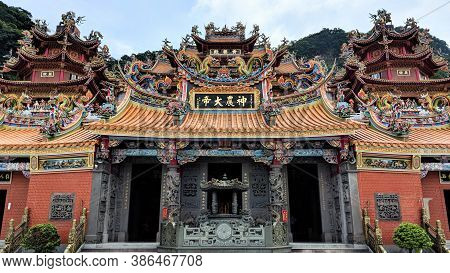 Jiufen, Taiwan - August 18, 2018: A Taoist Temple Just Outside Jiufen In The Ruifang District Of Tai