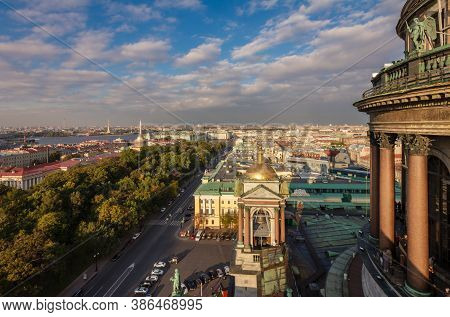 Unique Panoramic View From St Isaac Cathedral, Saint-petersburg, Russia, Autumn Sunset At Admiraltei