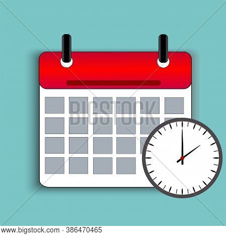Calendar icon with a clock on a turquoise background. Reminder of an important event. Calendar with detachable sheets. Scheduled event for a specific day. Notice not to forget. Vector