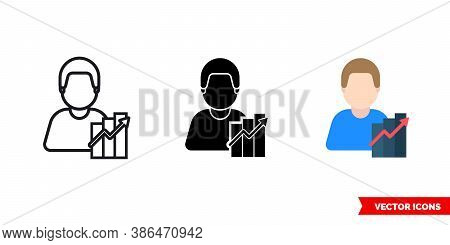 Marketer Economist Icon Of 3 Types Color, Black And White, Outline. Isolated Vector Sign Symbol.
