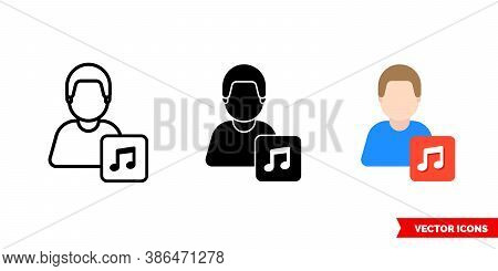 Musician Instrumentalist Icon Of 3 Types Color, Black And White, Outline. Isolated Vector Sign Symbo