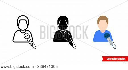 Narrator Master Singer Icon Of 3 Types Color, Black And White, Outline. Isolated Vector Sign Symbol.