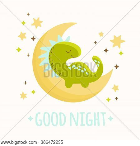 Dino Baby Moon Hand Drawn Flat Design Grunge Style Cartoon Prehistoric Animal Moon Vector Illustrati