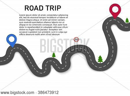Road Trip. Drive Along A Winding Road With Two Navigation Pointers. The Starting And Ending Point Of