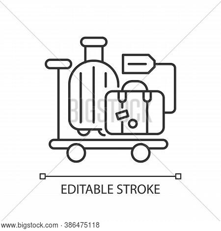 Baggage Car Linear Icon. Railway Transportation, Train Service. Holiday Trip, Vacation Thin Line Cus