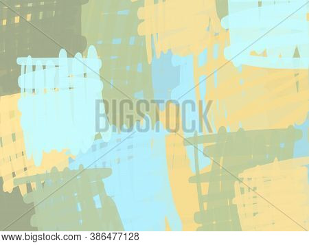 Abstract Background From Square Doodle Of A Gentle Pastel Shade, Green Blue Yellow. Abstract Composi