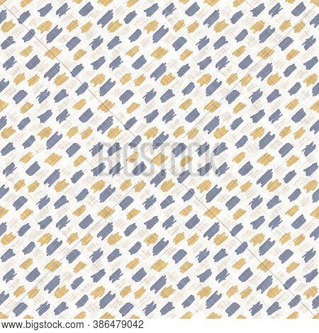 Seamless French Blue Yellow Farmhouse Style Polka Dot Texture. Woven Linen Cloth Pattern Circle Back