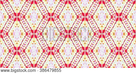 Folk Tribal Seamless Pattern. Handdrawn Geometric Decoration. Dirty Native Oriental Kaftan. Colorful