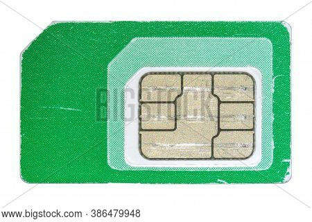 Closeup Photo Of A Used And Scratched Mobile Phone Sim Card Isolated On White Background.